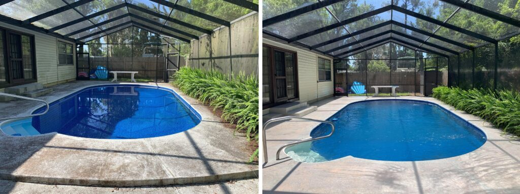 Adams Pressure Cleaning Pool Before and After